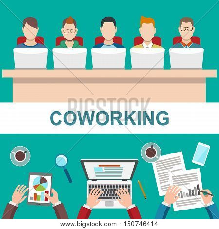 Coworker concept. Business meeting in office, conference, teamwork, brainstorming. Flat style modern design