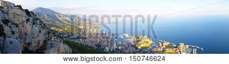 Beautiful Panoramic View of the Principality of Monaco and the Mediterranean Sea