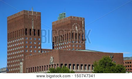 Oslo City Hall (Radhus) in Oslo Norway