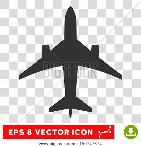 Vector Jet Plane EPS vector pictogram. Illustration style is flat iconic gray symbol on a transparent background.