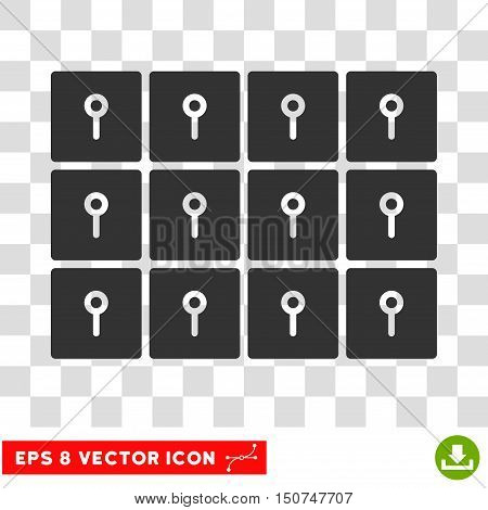 Vector Lockers EPS vector pictogram. Illustration style is flat iconic gray symbol on a transparent background.
