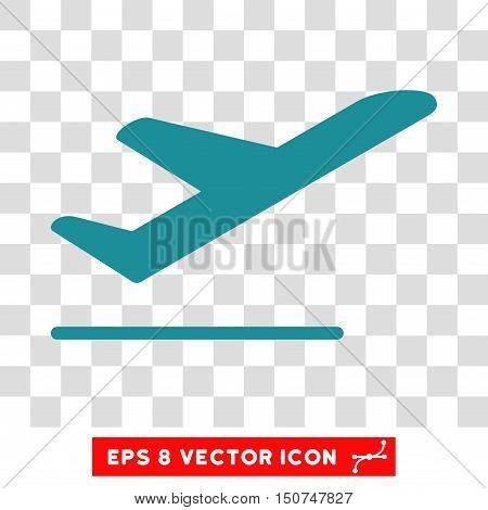 Vector Airplane Departure EPS vector icon. Illustration style is flat iconic soft blue symbol on a transparent background.