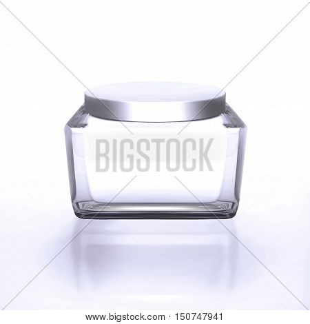 Closeup of jar of moisturizing face beauty cream on a white background. 3D illustration