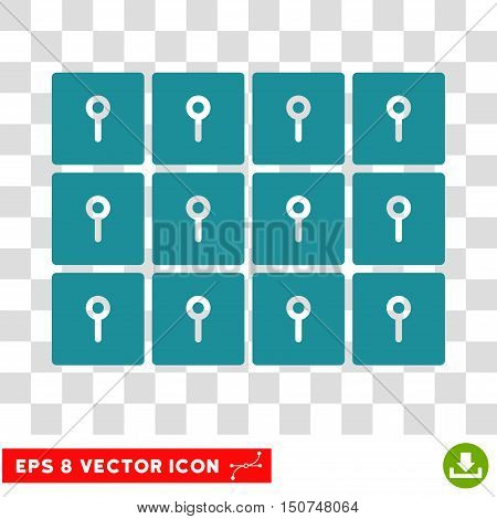 Vector Lockers EPS vector icon. Illustration style is flat iconic soft blue symbol on a transparent background.