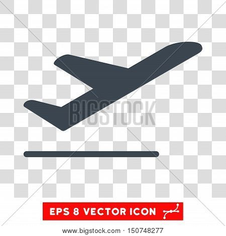 Vector Airplane Departure EPS vector pictogram. Illustration style is flat iconic smooth blue symbol on a transparent background.