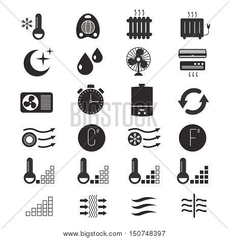 Heating and cooling, air conditioning system vector icons. Conditioner equipment and climate control home illustration