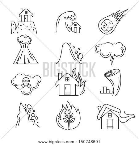 Natural disaster icons. Earthquake and tornado, hurricane and tsunami, vector illustration