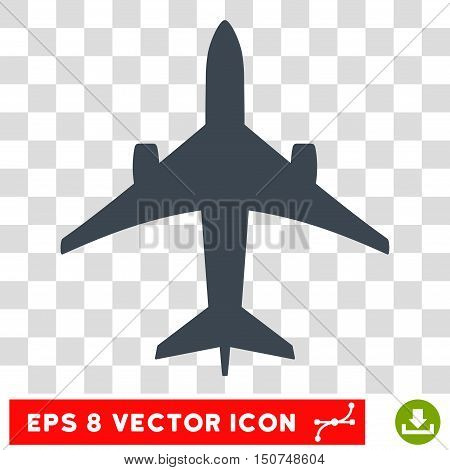 Vector Jet Plane EPS vector pictograph. Illustration style is flat iconic smooth blue symbol on a transparent background.