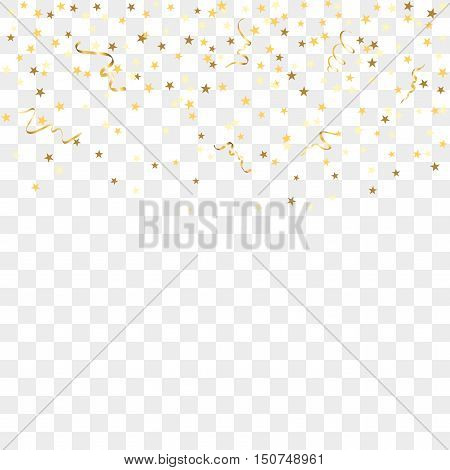 Gold star confetti celebration isolated on transparent background. Falling golden abstract decoration for party birthday celebrate anniversary event festive. Festival decor. Vector illustration