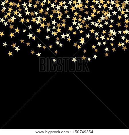 Gold star confetti celebration isolated on black background. Falling golden abstract decoration for party birthday celebrate anniversary or Christmas New Year. Festival decor. Vector illustration