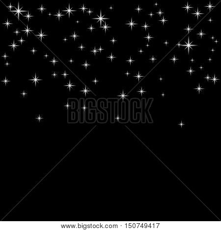 Silver star confetti celebration isolated on black background. Falling abstract decoration. Vector illustration