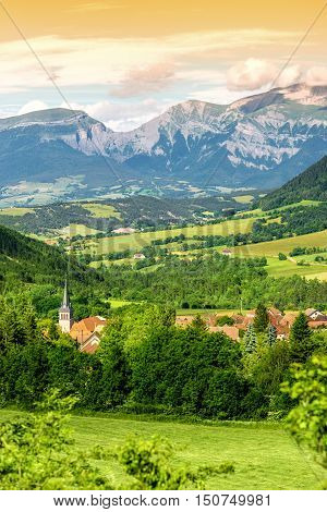 Beautiful landscape view on Lalley mountain village near Ecrins national park on the south-east of France