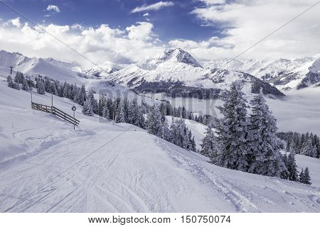 View To Alpine Mountains In Austria From Kitzbuehel Ski Resort - One Of The Best Ski Resort In The W