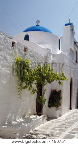 Greek Church With  Green Tree
