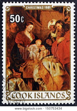 COOK ISLANDS - CIRCA 1981: a stamp printed in Cook Islands shows Adoration of the Kings Painting by Rubens Christmas circa 1981