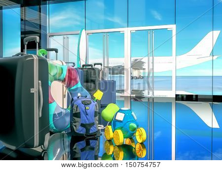 Expectation of a departure. Suitcases, bags, children's things before boarding the airplane at the gate. 3D illustration