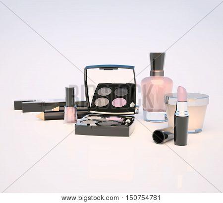 Set of make-up products on light background. 3D illustration