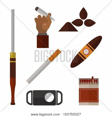 Smoking silhouette vector icons collection. Tabacco tools, sigarette, cigars, habit icons. Tabacco smoker tools icons vector. Cigars vector set, tabacco, nicotine. Health problems