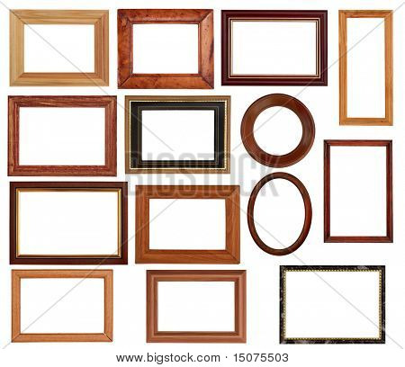 vintage frames set isolated on white background with clipping path