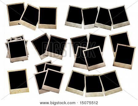 set of old photos, isolated on white background with clipping path