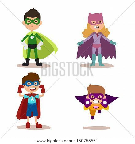 Superhero kids boys and girls cartoon vector illustration. Super children illustration. Super hero kids playing, fly success people concept vector illustration