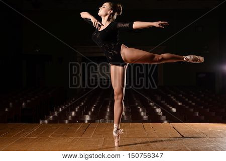 Ballerina In Pointe Shoes Is Standing Making Flap Leg