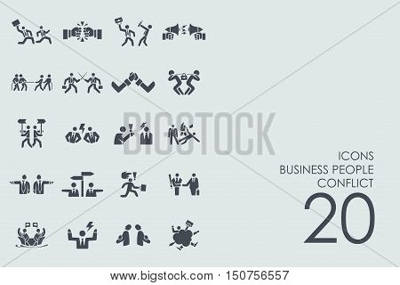 business people conflict vector set of modern simple icons