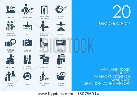 BLUE HAMSTER Library immigration vector set of modern simple icons