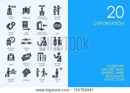 BLUE HAMSTER Library deportation vector set of modern simple icons