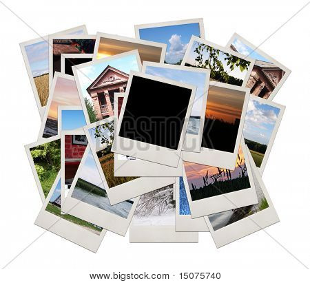 Stack of photo shots with space for your photo, isolated