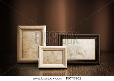 photo frames on red background
