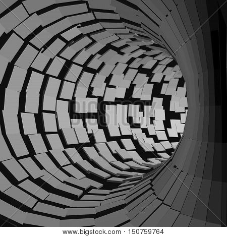 Abstract Tunnel. Futuristic Style. 3D Abstract Surface. Turning Tube Tunnel. Perspective Background. Data visualisation.
