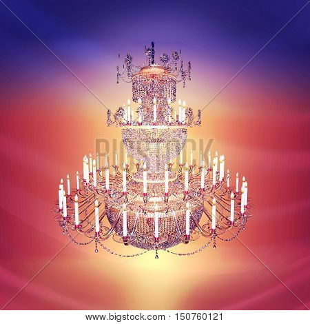 Chandelier crystal candles against the background of a red curtain.3D illustration