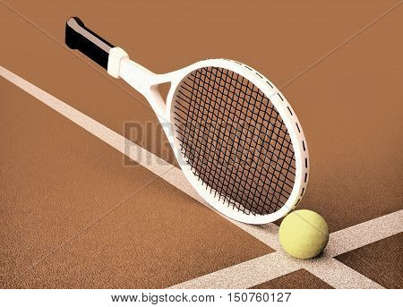 Close up view of tennis racket and ball on the clay tennis court. 3D illustration