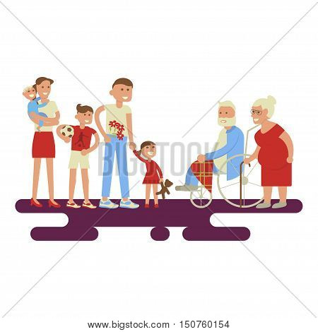 Big family portrait - grandfather, grandmother, mom, dad, kids. Two happy families in a flat style. Vector set of characters isolated on white background. The young congratulates elderly.