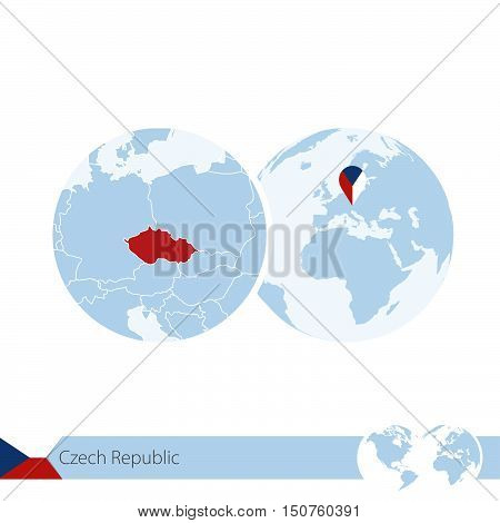 Czech Republic On World Globe With Flag And Regional Map Of Czech Republic.