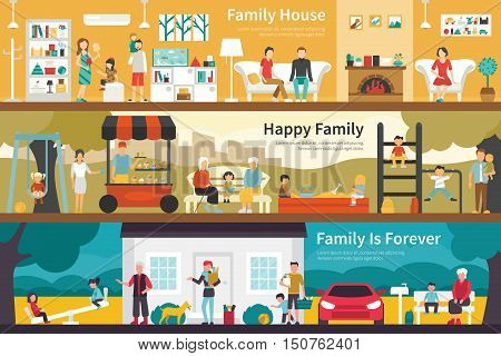 Family House Happy Family Family Is Forever flat interior outdoor concept web. Career Chart Fun