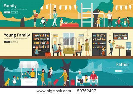 Family Young Family Father flat interior outdoor concept web. Career Chart Fun