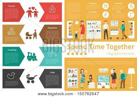 Spend Time Together infographic flat vector illustration. Editable Presentation Concept