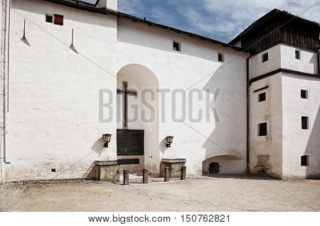 SALZBURG AUSTRIA - May 05.2012: Ancient tomb in a niche in the wall of Hohensalzburg castle