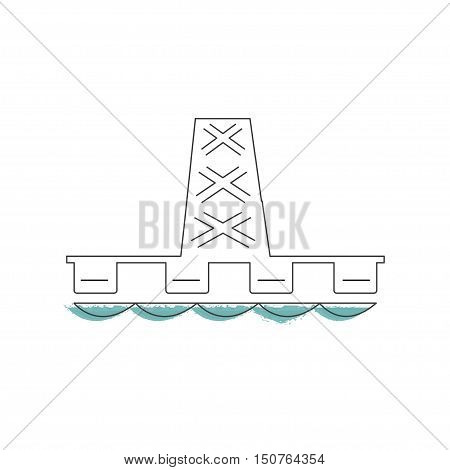 Ecology and Environment icon of sea oil well for template website. Environmental protection and pollution works sign in thin line design. Vector illustration eps10