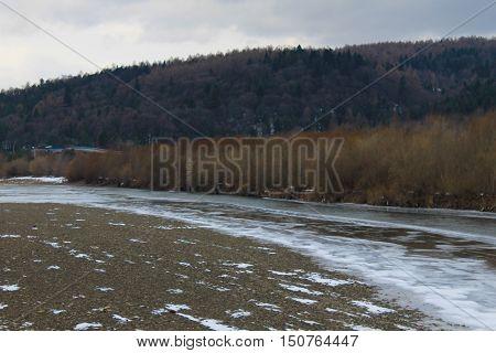 Winter river in the Carpathian mountains, Ukraine