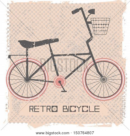 Stylish vintage bicycle on retro background. Stylish postcard for your creative designs. Vector illustration.