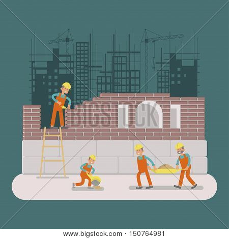 Builders construction working by manual tools, equipment at construction site Illustration cartoon construction characters Constructions isolated on white background. Construction design Vector eps10