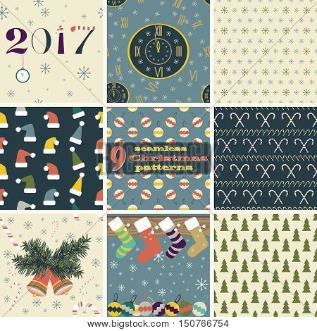 Set of seamless Christmas and New Year patterns. Clock, snowflakes, Christmas trees, balls, bells, Santa hats, candy canes, Christmas stockings hanging on mantel. Festive design vector illustrations