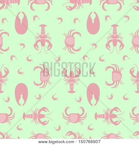Seafood seamles pattern in flat design. Fish, lobster, octopus, shrimp and crab. Vector illustration for background.