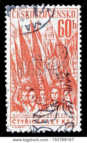 CZECHOSLOVAKIA - CIRCA 1961 : Cancelled postage stamp printed by Czechoslovakia, that shows Crowd with flags