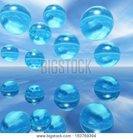 Rising water balls - digital artwork.3D rendering