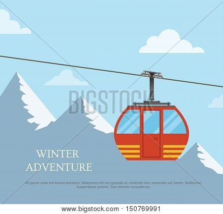 The concept of active rest for the Christmas holidays. Winter landscape, mountains and cableway. Template invitation skiing and snowboarding in a flat style. Vector illustration.