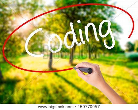 Woman Hand Writing Coding With A Marker Over Transparent Board